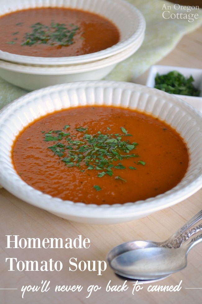 Homemade Tomato Soup in bowls