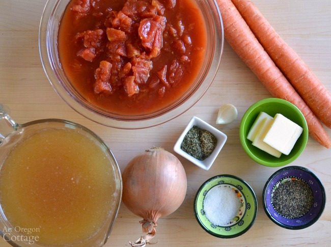 Ingredients for tomato soup recipe