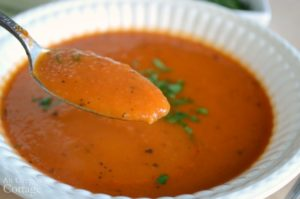 Homemade Tomato Soup on spoon