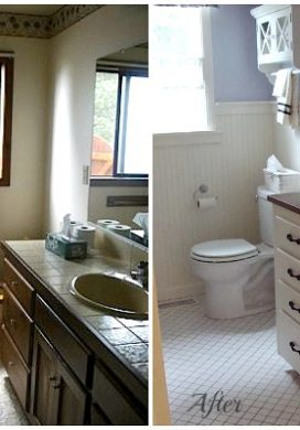 Main Bathroom Before and After - An Oregon Cottage