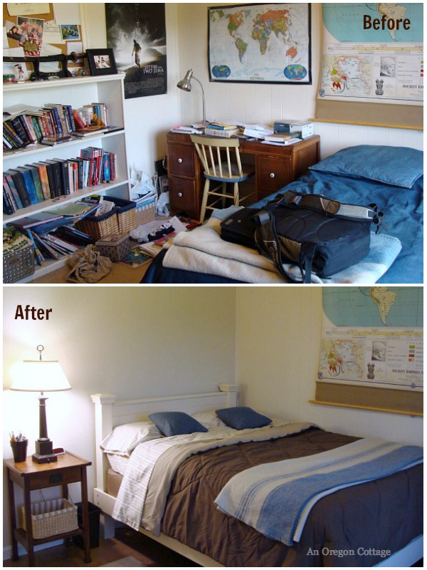Teen Bedroom Makeover Before-After Bed - An Oregon Cottage
