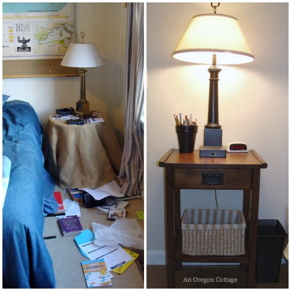 Teen Bedroom Makeover Before-After Nightstand - An Oregon Cottage