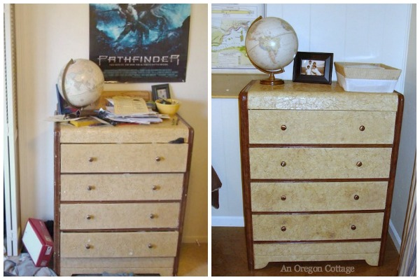 Teen Bedroom Makeover Before-After Tissue Paper Dresser - An Oregon Cottage