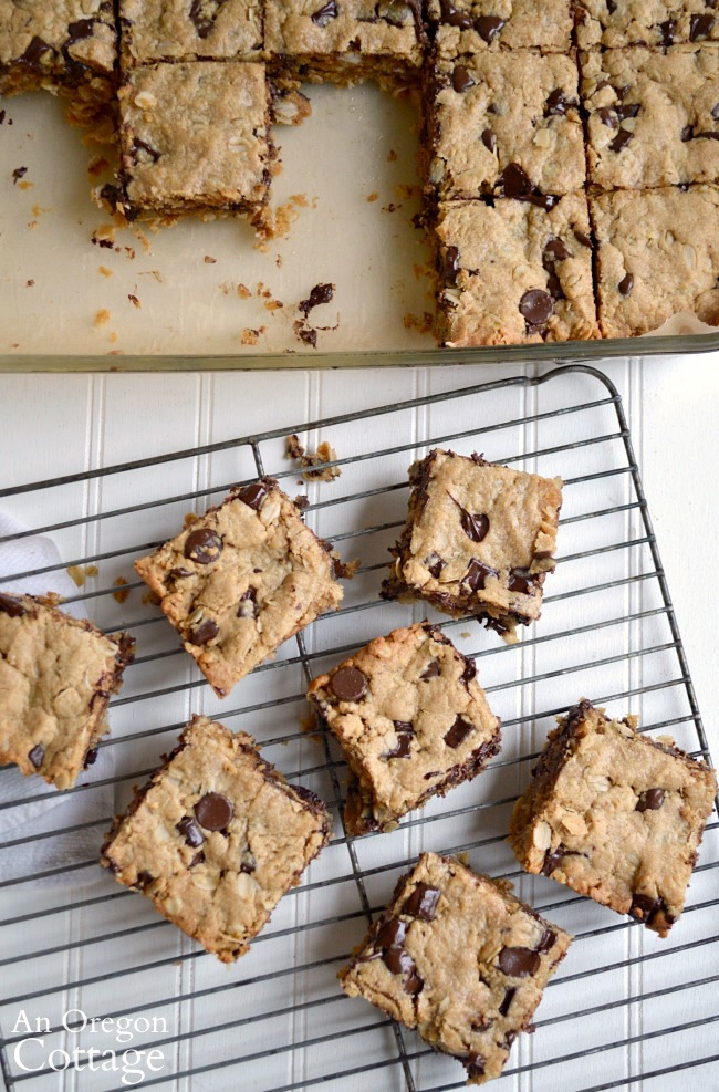 Whole Grain Chocolate Chip Peanut Butter Bars on cooling rack