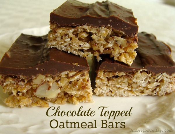 Chocolate-Topped Oatmeal Bars | AnOregonCottage.com