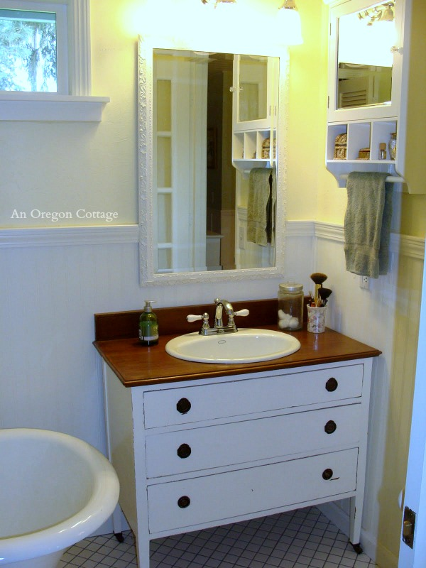 How to Make a Dresser into a Vanity - An Oregon Cottage