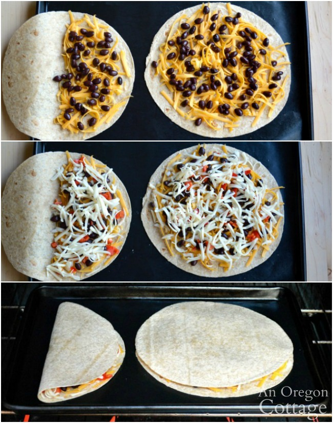 Making quesadillas in the oven