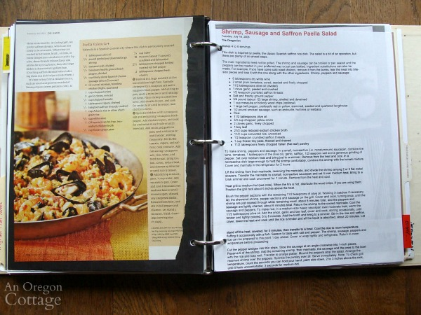 Organizing recipes-pages in binder_