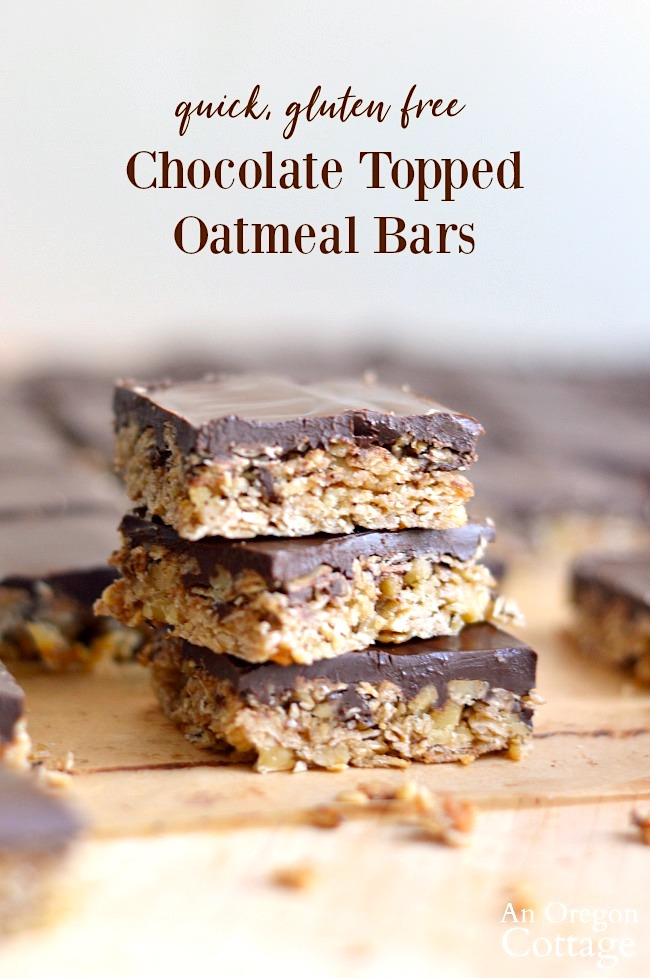 Quick Gluten Free Chocolate Topped Oatmeal Bars stacked