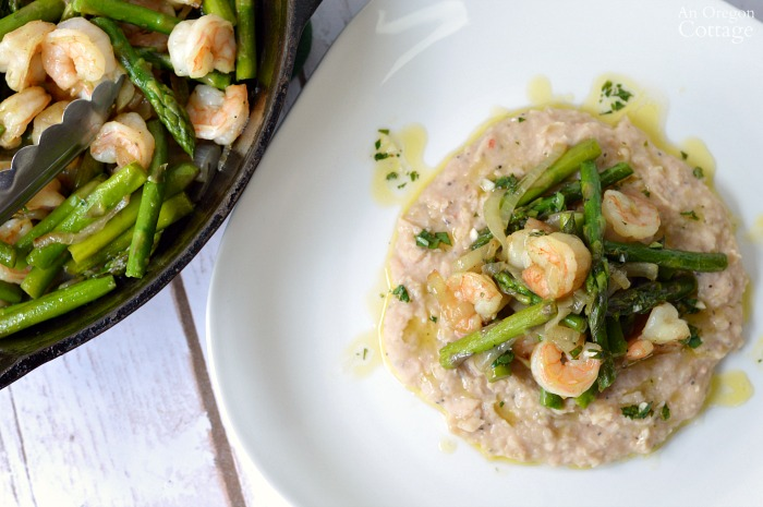 Restaurant worthy Shrimp and Asparagus over White Bean Puree