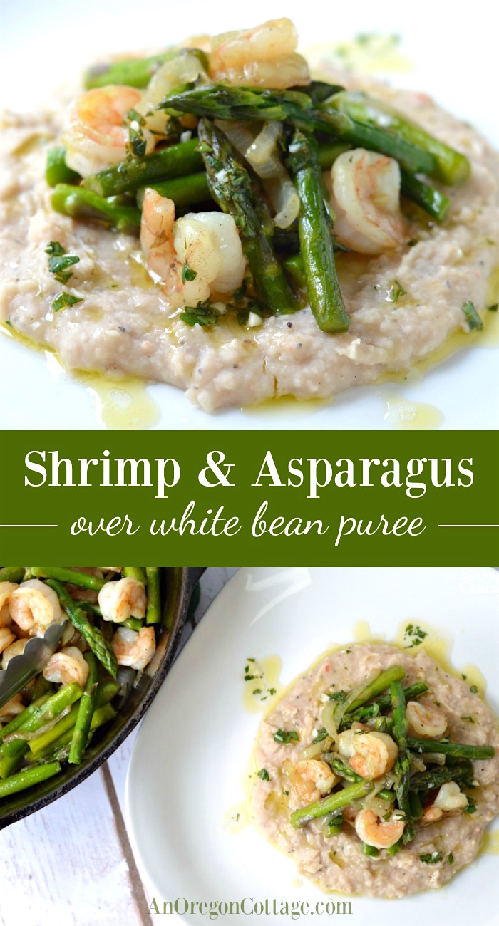 Shrimp & Asparagus over White Bean Puree pin image