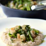 Shrimp and Asparagus over White Bean Puree-restaruant worthy dinner done in just 30 mintes