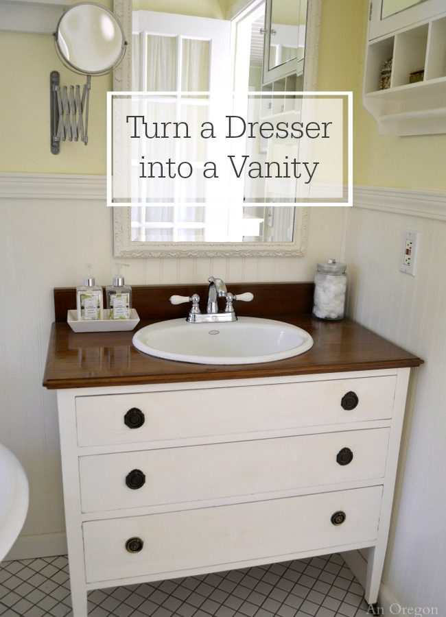 Tutorial for turning a dresser into a bathroom vanity