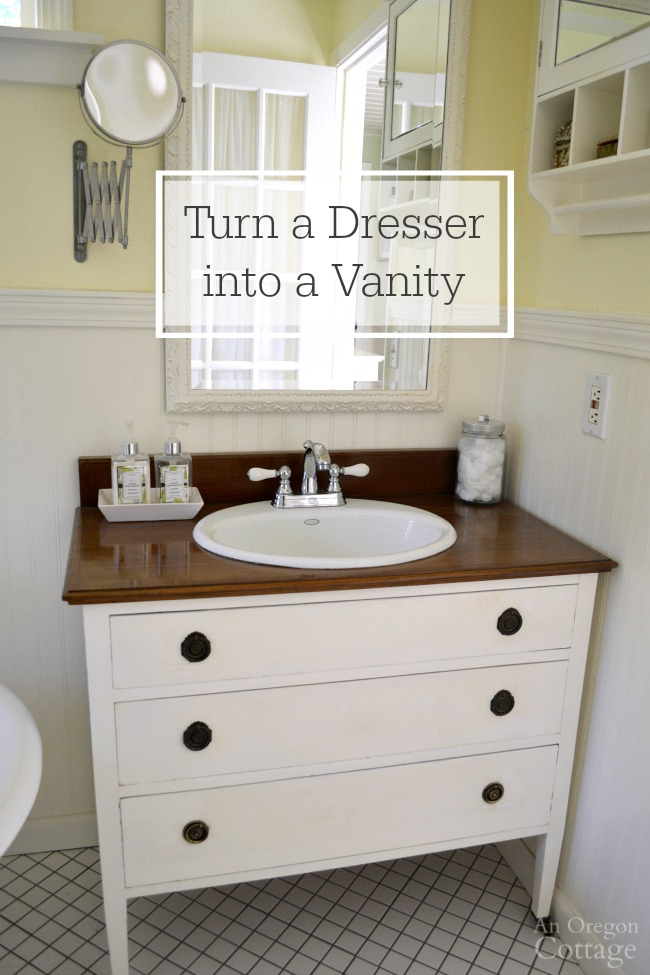Vintage dresser used as a bathroom vanity