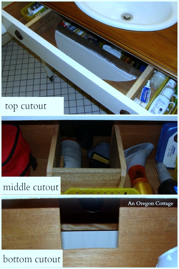 Vanity into a Dresser-Cutout Drawers