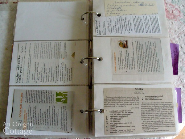 organizing recipes-inside photo album binder