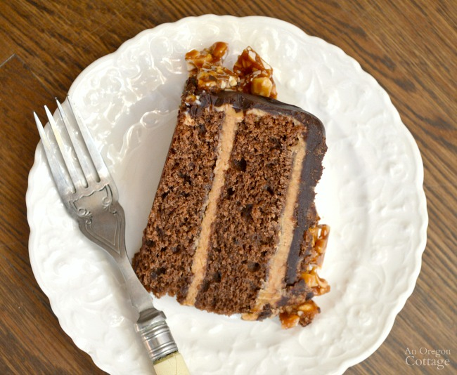 Peanut Butter Chocolate Celebration Cake slice