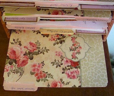 Rose pattern file folders