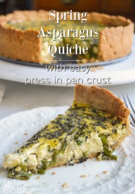 asparagus quiche with easy crust on white plate