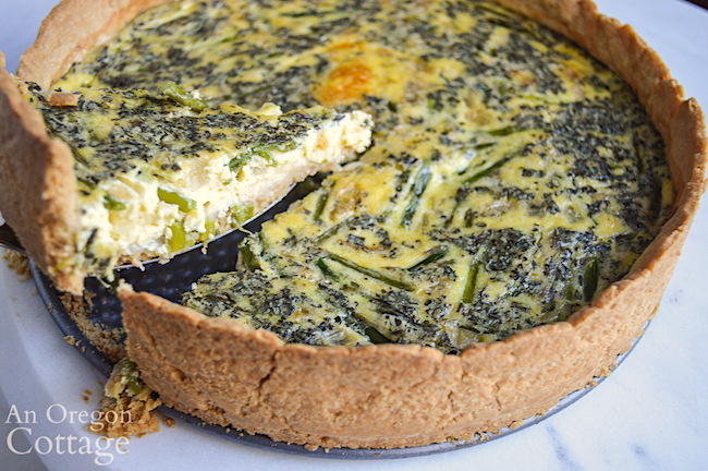 cutting asparagus quiche
