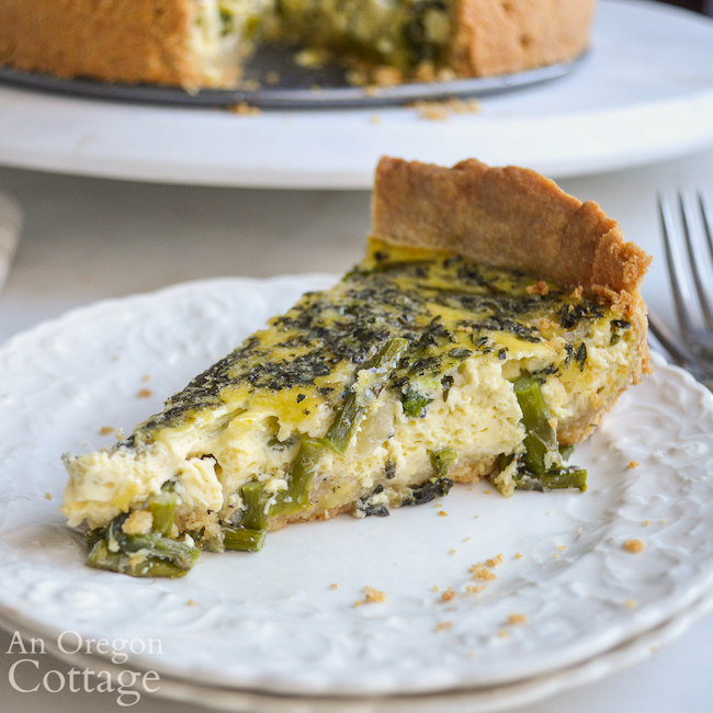 piece of asparagus quiche