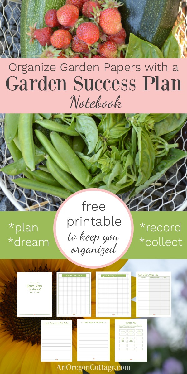 Organize your garden paperwork with a simple system and the Garden Success Plan Notebook- a 10 page free printable!