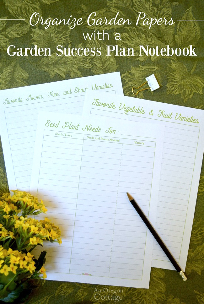 Organizing Garden Papers with a free printable garden success plan notebook.