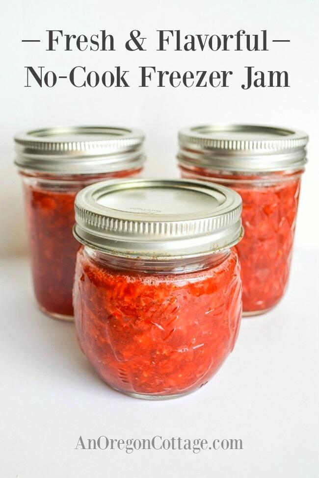 no cook freezer jam in jars