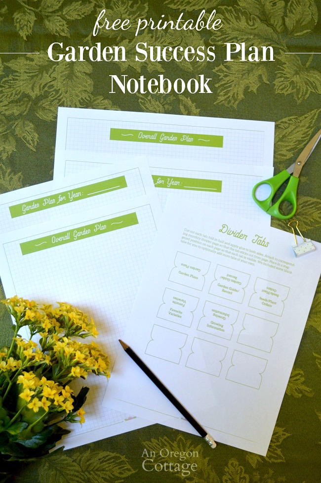 Free Printable Organizing Garden Papers with a garden success plan notebook