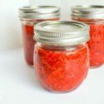 freezer jam in jars with lids