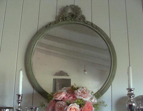vintage green round mirror6