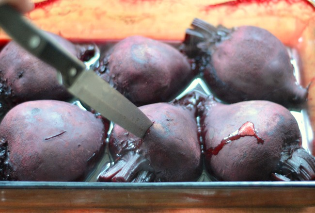 How to Roast and Freeze Beets-checking for tenderness