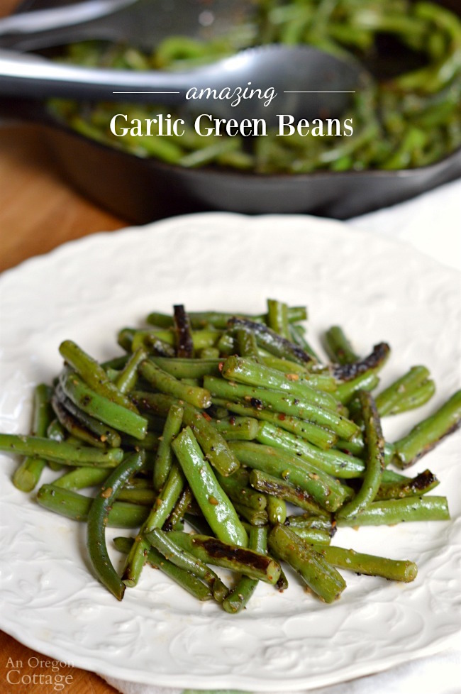 Garlic green beans in skillet and on plate