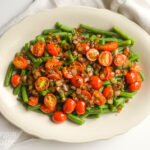 Green beans-caramelized onions-tomatoes above
