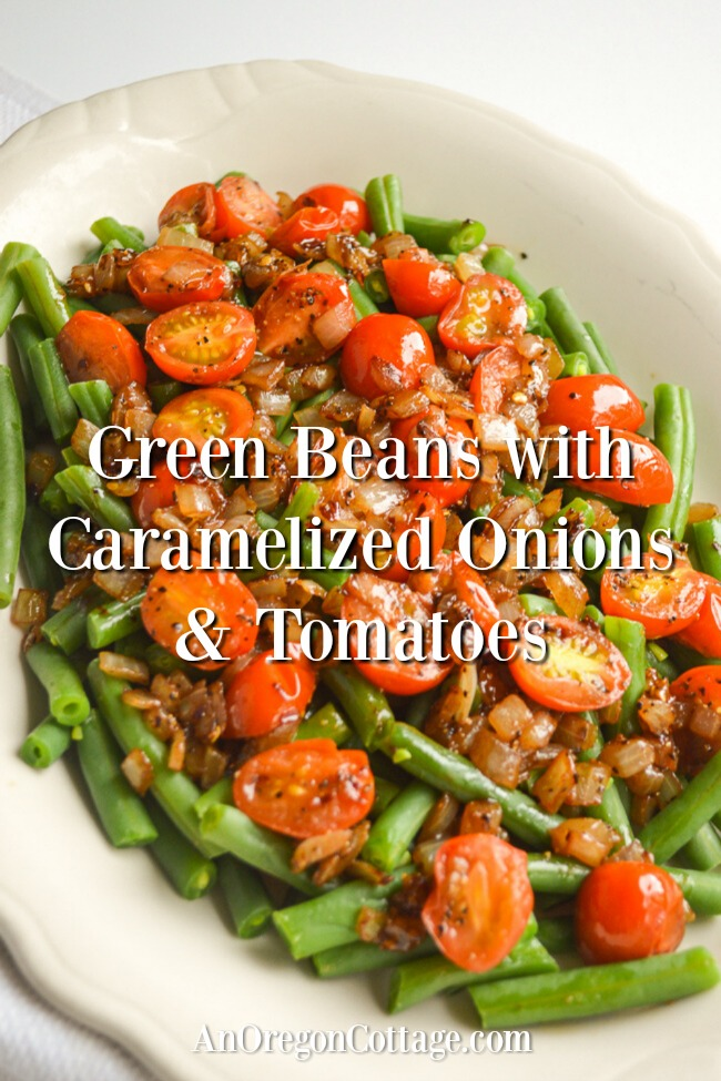 Green beans with caramelized onions-tomatoes