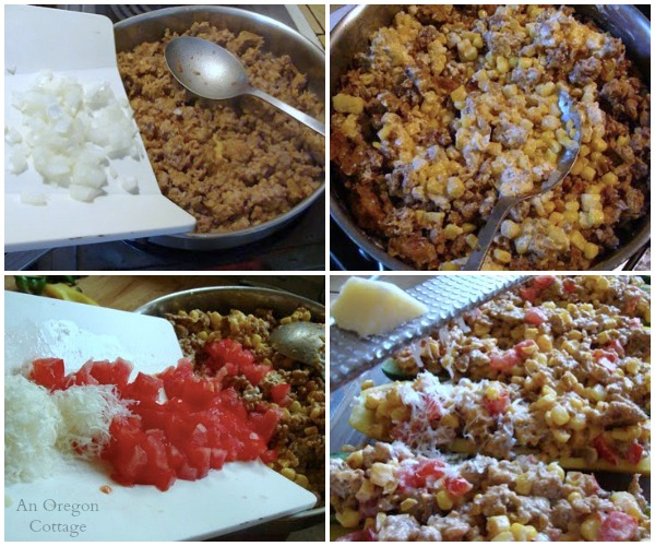 Sausage-Corn Stuffed Zucchini Filling - An Oregon Cottage