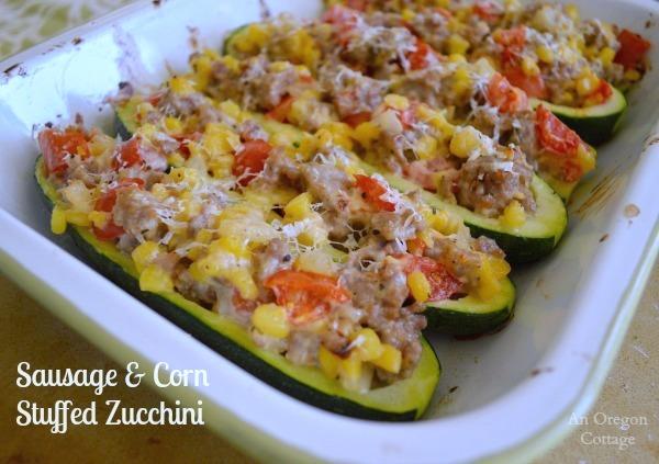 Sausage and Corn Stuffed Zucchini - thought you didn't like zucchini? Think again!
