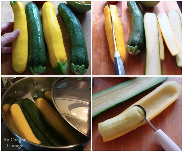 Sausage and Corn Stuffed Zucchini-prepping zucchini - An Oregon Cottage