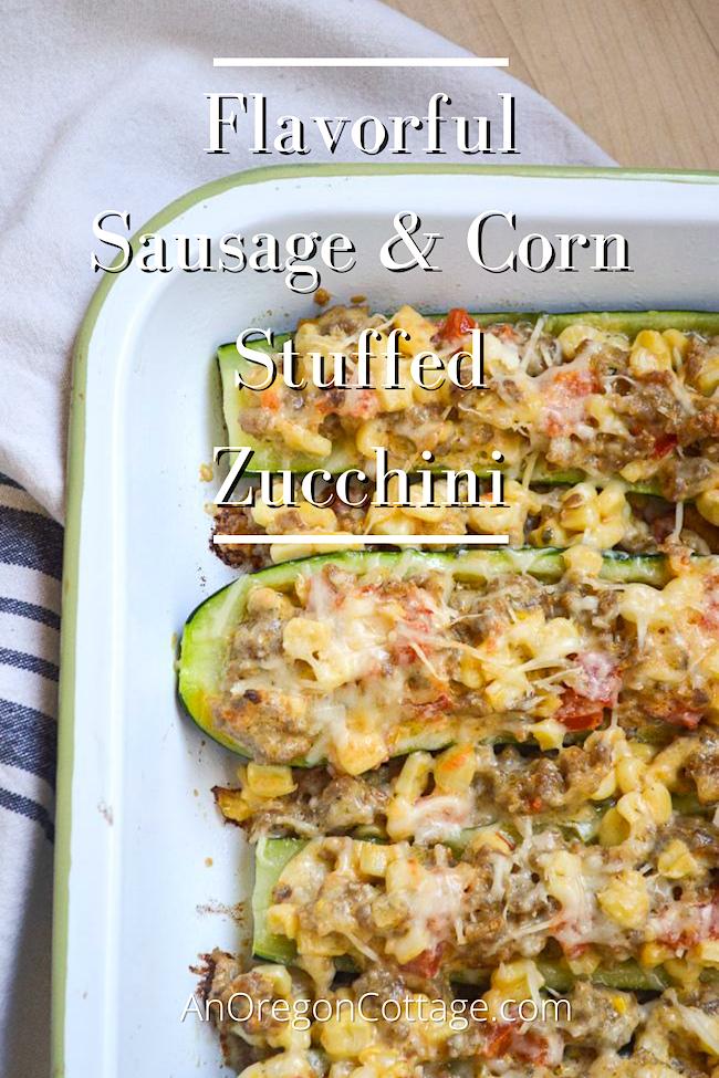 flavorful sausage-corn stuffed zucchini