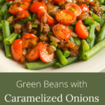 green beans-onions-tomatoes close