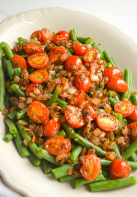 green beans-onions-tomatoes