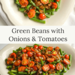 green beans with tomatoes-onions on platter
