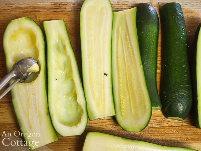 scooping centers of zucchini
