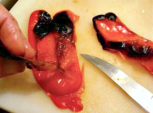 Canned Roasted Red Peppers in Wine-peeling roasted peppers