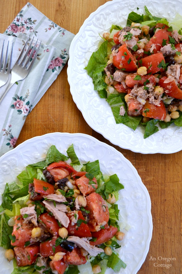 Tuna and Tomato Salad with Greek Flavors - An Oregon Cottage