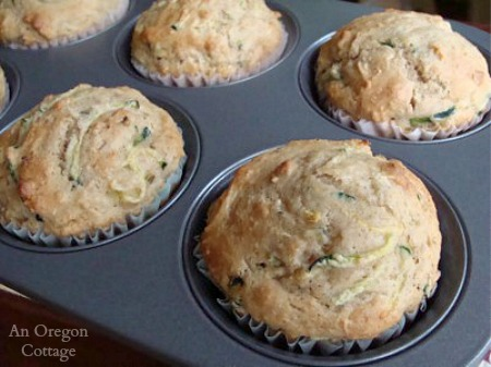 Zucchini Cinnamon Muffins from frozen dough - An Oregon Cottage
