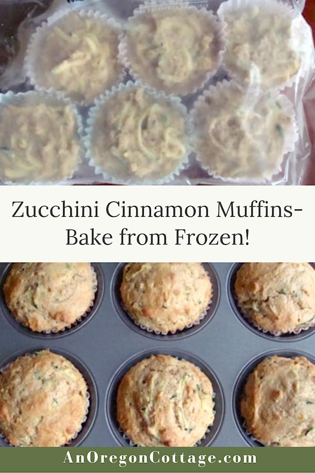 zucchini cinnamon muffins-bake from frozen