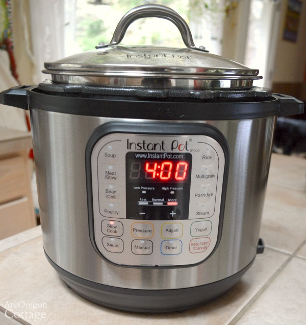 Slow Cooker Italian Sausage Vegetable Soup cooking in an Instant pot