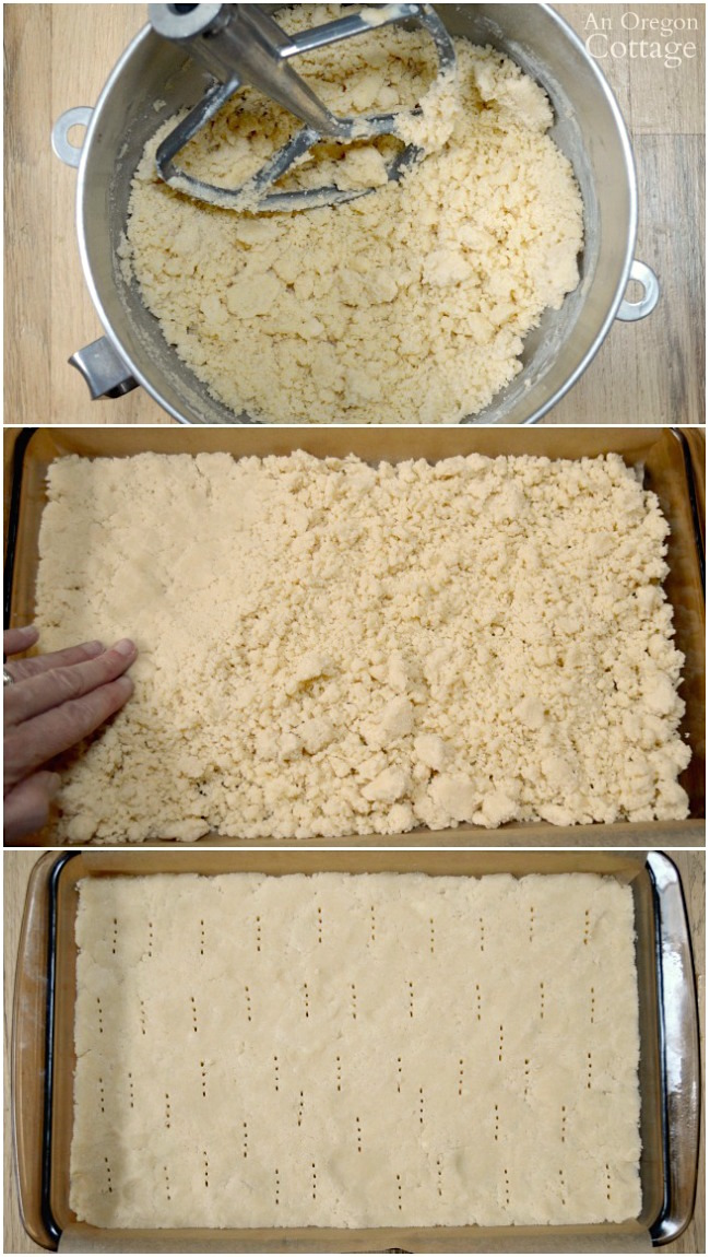 Caramel Coconut Shortbread Cookie Bars-making shortbread crust