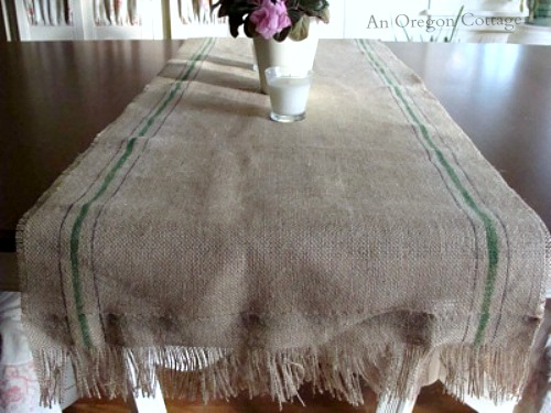 DIY Painted Fringed Burlap Runner - An Oregon Cottage